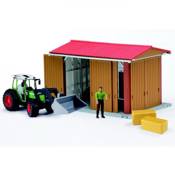 bworld 62620 Maschinenhalle Set mit Traktor
