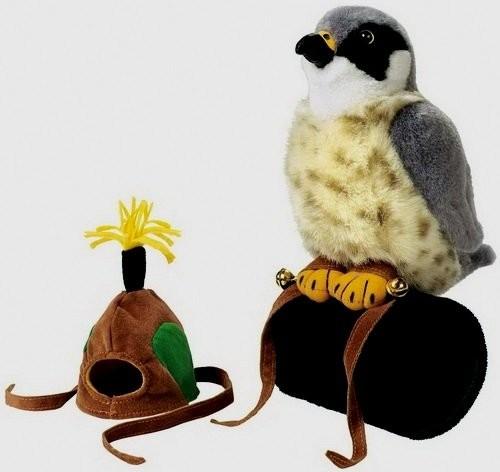 Falke mit Jagd Zubehör Plüsch mit echter Vogelstimme