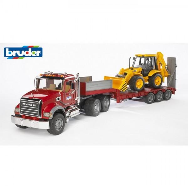 BRUDER 02813 - MACK Granite LKW Tieflader Set