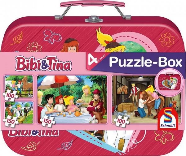 Puzzle Box - 4 Bibi und Tina Puzzle im Metallkoffer (Schmidt 56509)
