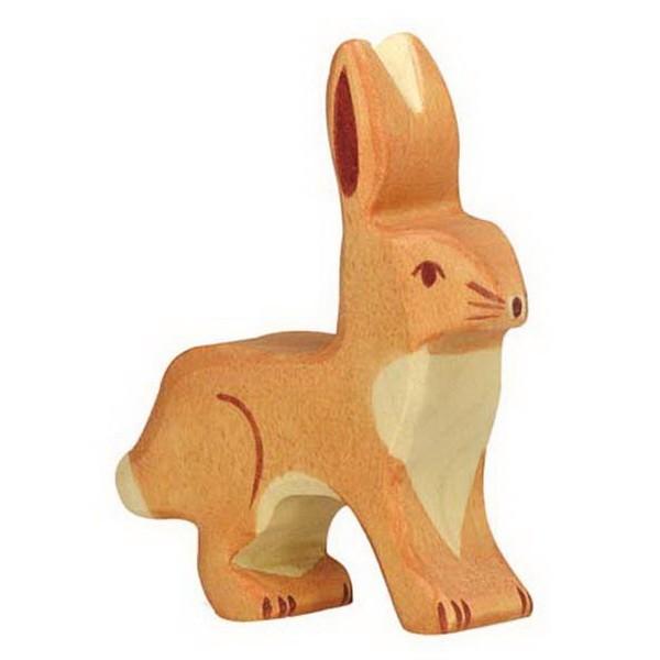 Holztiger Hase Ohren hoch