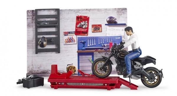 bworld 62101 - Motorradwerkstatt mit Figuren (Bruder)