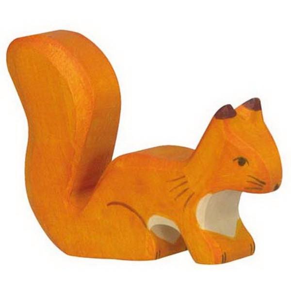 Holztiger Eichhörnchen stehend orange