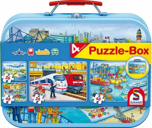 Puzzle Box - 4 Verkehrsmittel Puzzle im Metallkoffer (Schmidt 56508)
