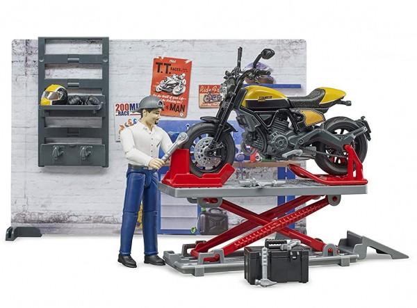 bworld 62102 - Motorradwerkstatt mit Scrambler Ducati Full Throttle (Bruder)