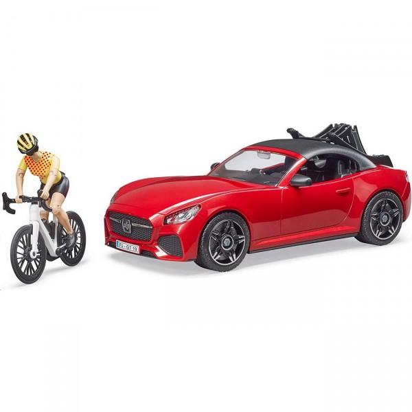 BRUDER 03485 - Roadster mit 1 Rennrad und Radfahrerin