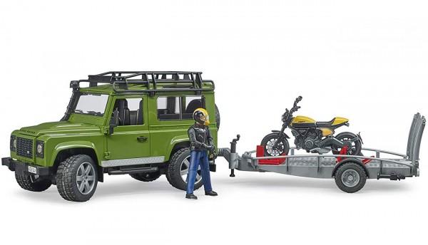 BRUDER 02589 - Land Rover mit Scrambler Ducati Full Throttle auf Anhänger