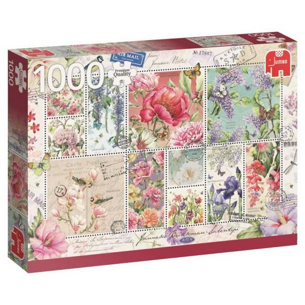 Puzzle - Briefmarken Blumen (Janneke Brinkman) - 1000 Teile