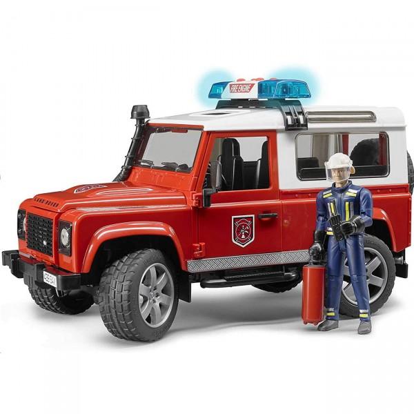 BRUDER 02596 - Land Rover Defender Feuerwehr Einsatzwagen mit Feuerwehrmann