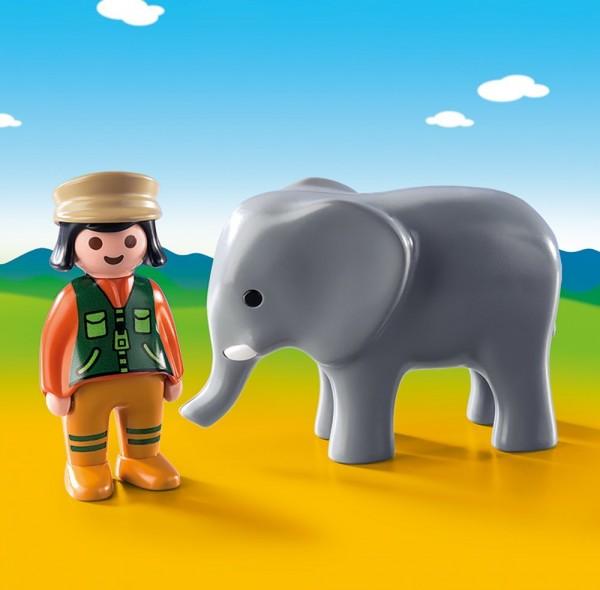 Playmobil 9381 - 1.2.3 Tierpflegerin mit Elefant