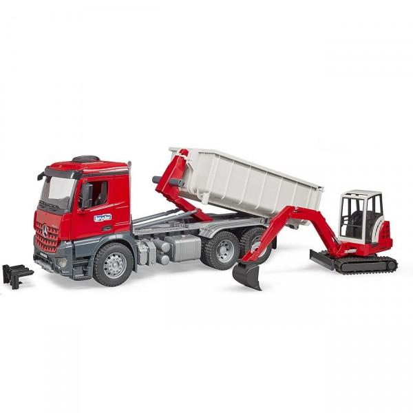 BRUDER 03624 - MB Arocs LKW mit Abrollcontainer und Schaeff Minibagger