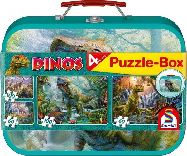 Puzzle Box - 4 Dinosaurier Puzzle im Metallkoffer (Schmidt 56495)