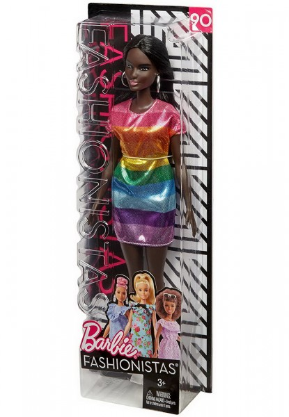 Barbie Fashionistas - Original Regenbogen Glitzerkleid (90) FJF50