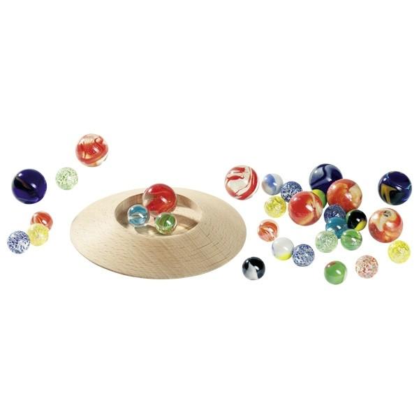 Murmelteller Holz mit 31 Murmeln (toys pure)