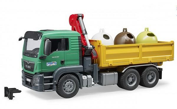 BRUDER 03753 - MAN TGS Kran LKW mit Altglascontainer