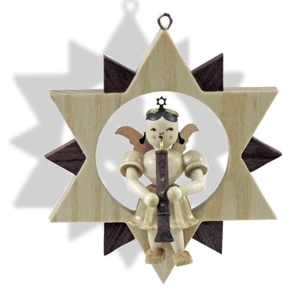 Engel mit Oboe im Stern (Blank - Erzgebirge)