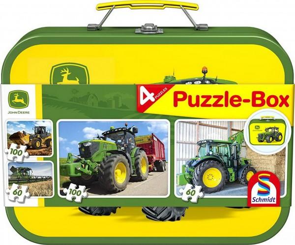 Puzzle Box - 4 John Deere Puzzle im Metallkoffer (Schmidt 56497)