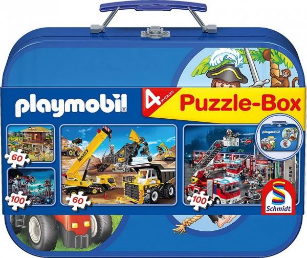 Puzzle Box - 4 Playmobil Puzzle im Metallkoffer (Schmidt 55599)