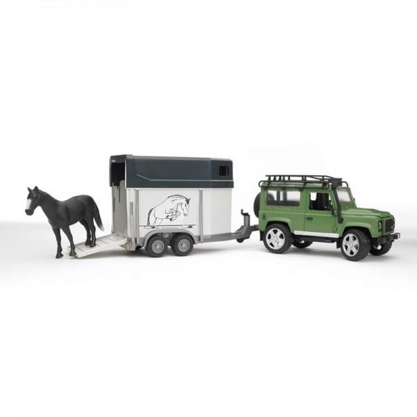 BRUDER 02592 - Land Rover Defender Pferdeanhänger
