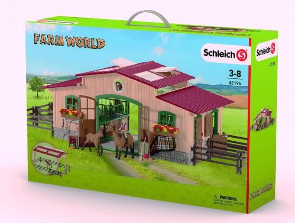 Schleich Pferdestall mit Pferden und Zubehör (42195) Farm World