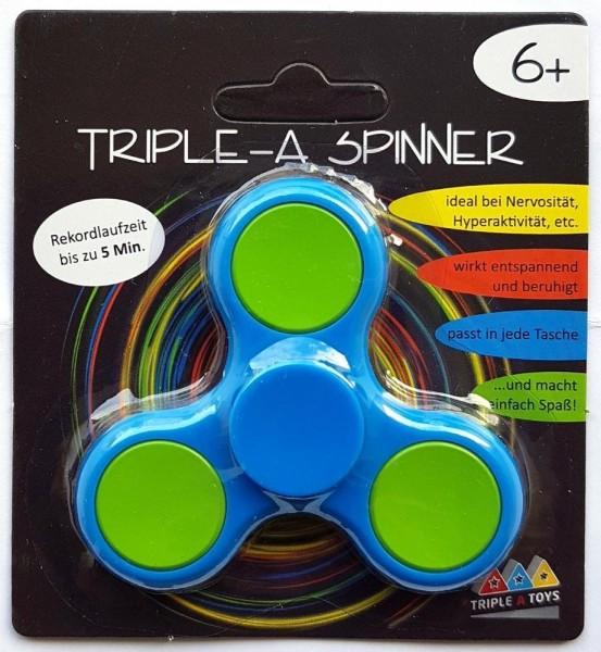 Triple-A Fidget Spinner mit Chromlager - blau