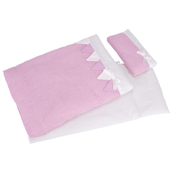 Puppen Bettzeug rosa Streifen (goki 51589)