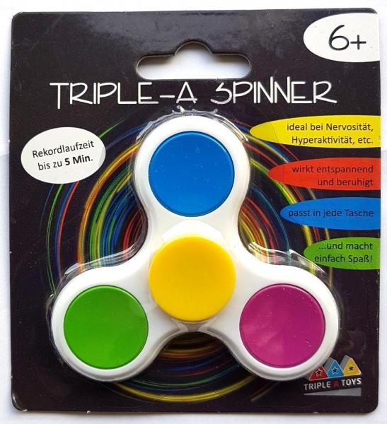 Triple-A Fidget Spinner mit Chromlager - weiß