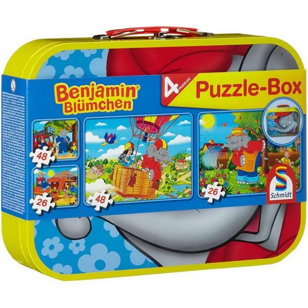 Puzzle Box - 4 Benjamin Blümchen Puzzle im Metallkoffer (Schmidt 55594)