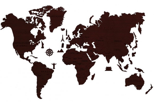 Woodencity - World Map XXL dark oak - Weltkarte XXL