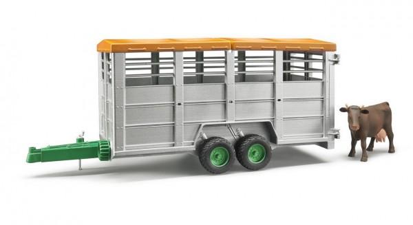 BRUDER 02227 - Viehtransportanhänger mit Kuh