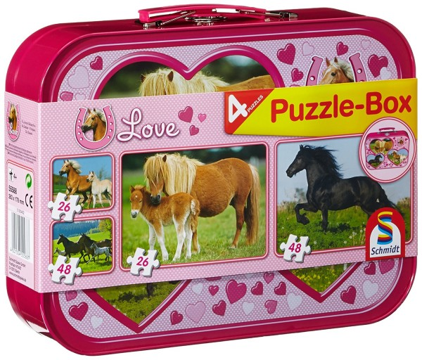 Puzzle Box - 4 Pferde Puzzle im Metallkoffer (Schmidt 55588)