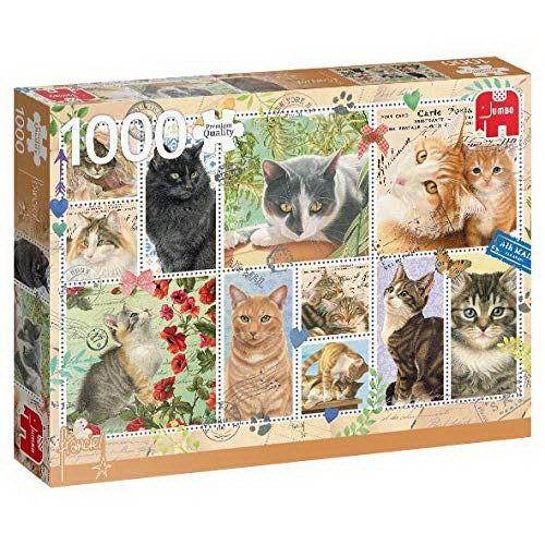 Puzzle - Briefmarken Katzen (Francien van Westering) - 1000 Teile