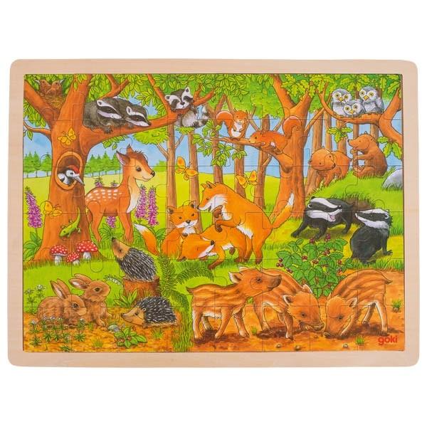 Einlegepuzzle Tierkinder im Wald (goki 57734)