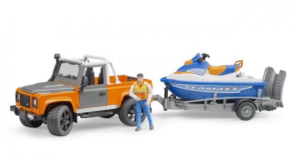 BRUDER 02599 - Land Rover Defender mit Water Craft Anhänger